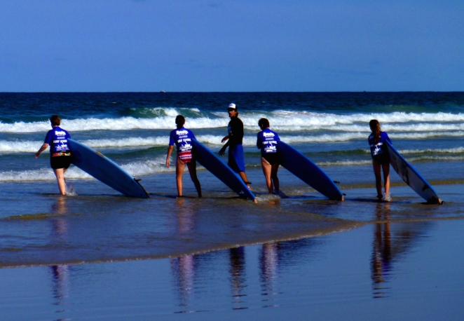 Late afternoon surfing lessons.